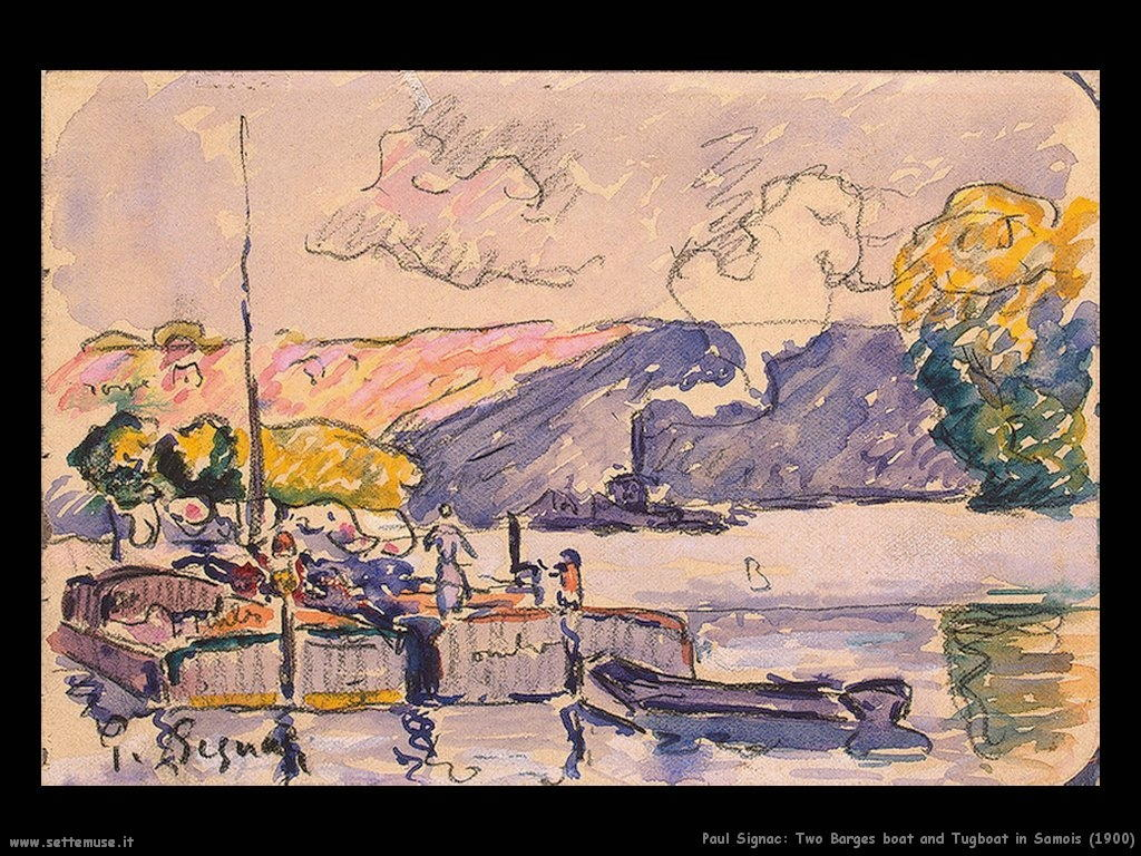 paul signac   Two_Barges_Boat_and_Tugboat_in_Samois_1900