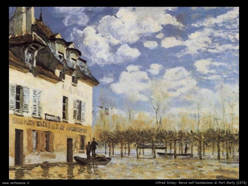 Alfred Sisley_barca_inondazione_port_marly_1876