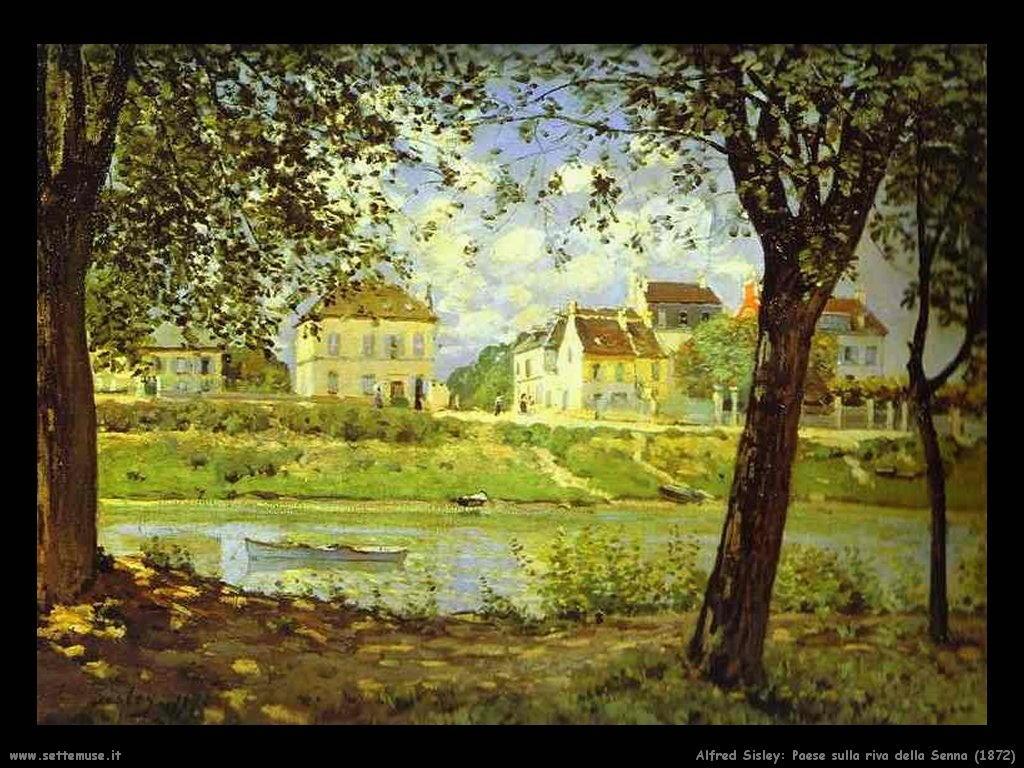 Alfred Sisley_paese_sulla_riva_della_senna_1872