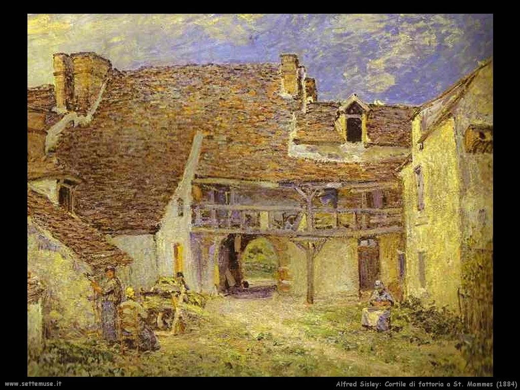 Alfred Sisley_cortile_fattoria_a_st_mammes_1884