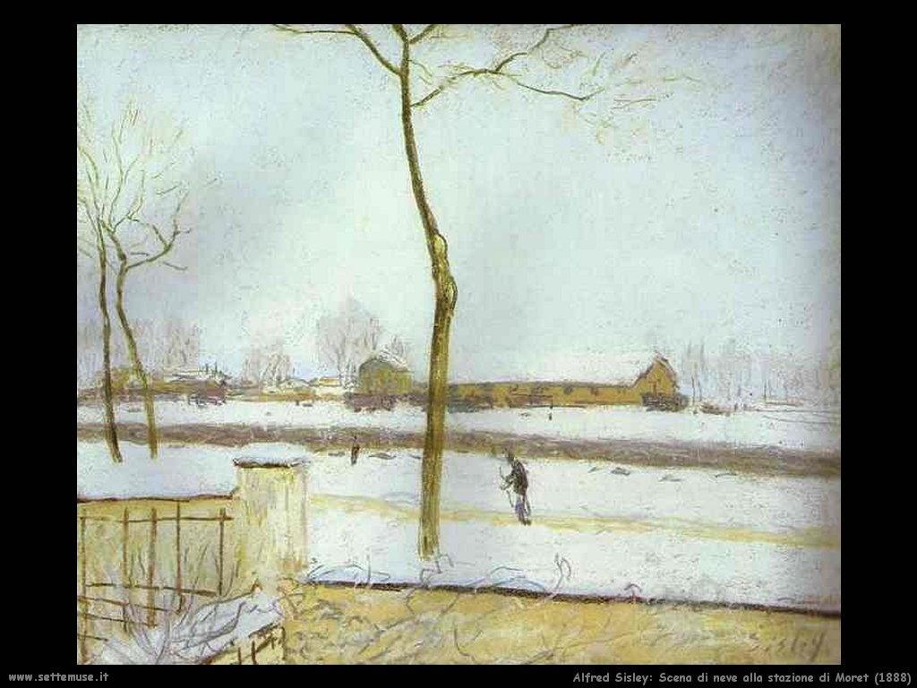 Alfred Sisley_scena_di_neve_stazione_moret_1888