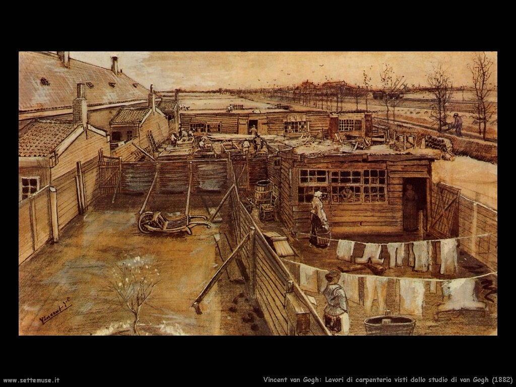 Vincent van Gogh_lavori_di_carpenteria_dallo_studio_1882