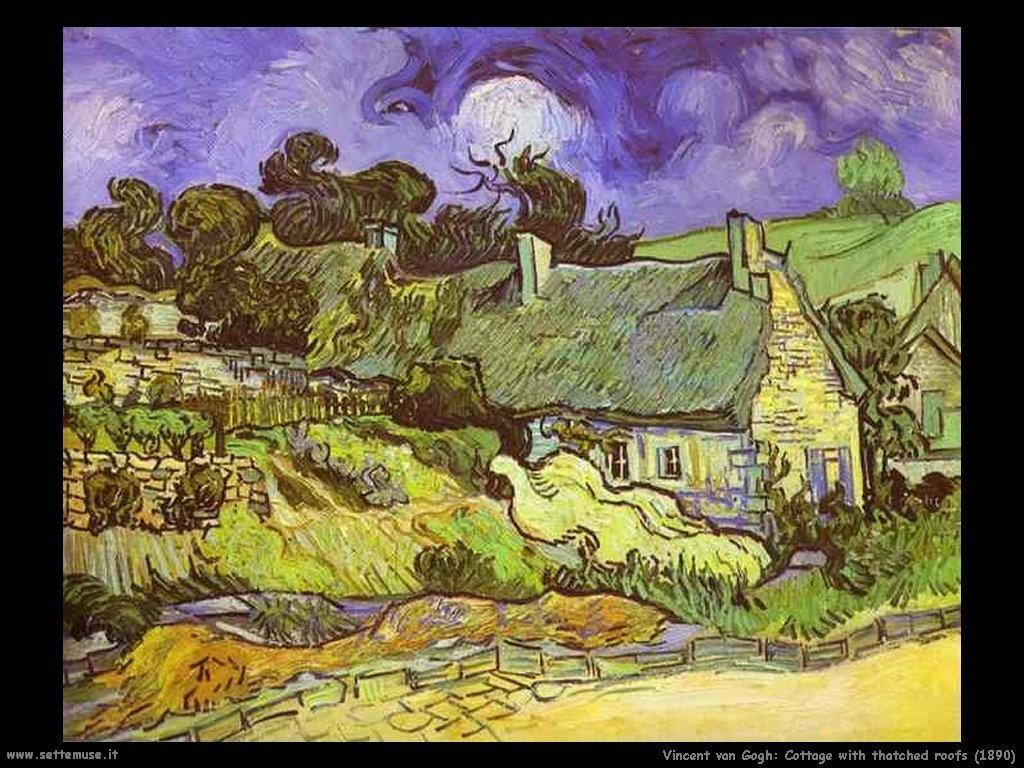 Vincent van Gogh Cottage con tetti di paglia_1890