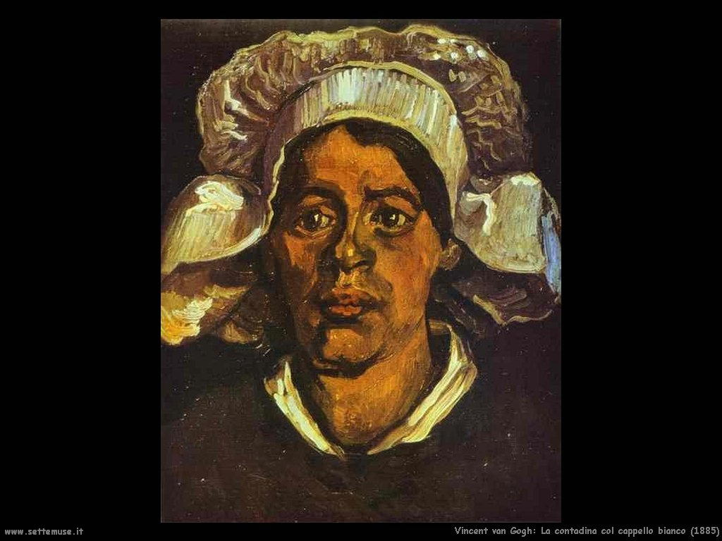 Vincent van Gogh_contadina_con_cappello_bianco_1885