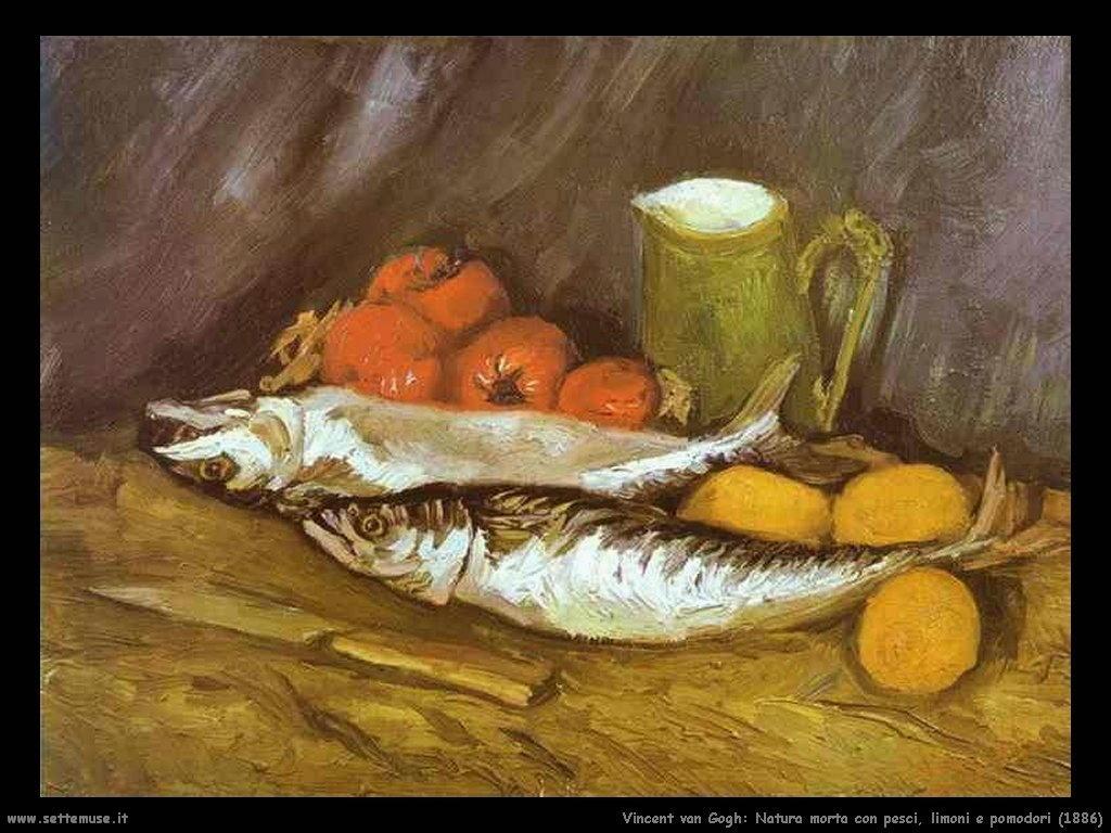 Vincent van Gogh natura morta pesci limoni pomodori 1886