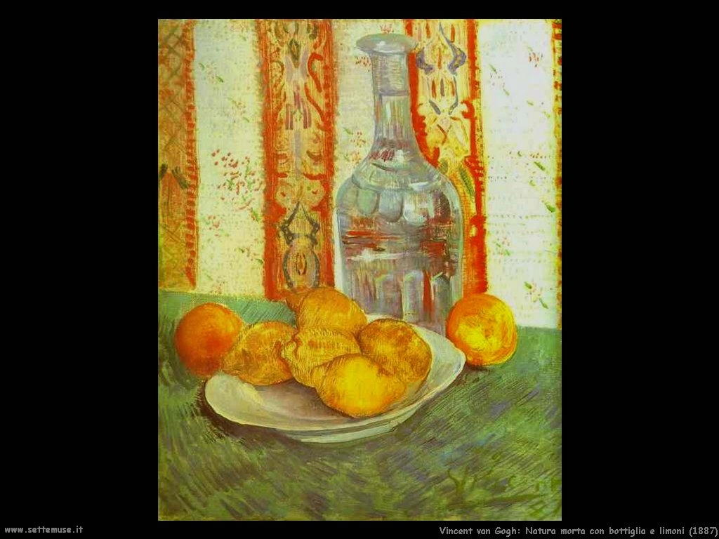 Vincent van Gogh natura morta con bottiglia e limoni 1887