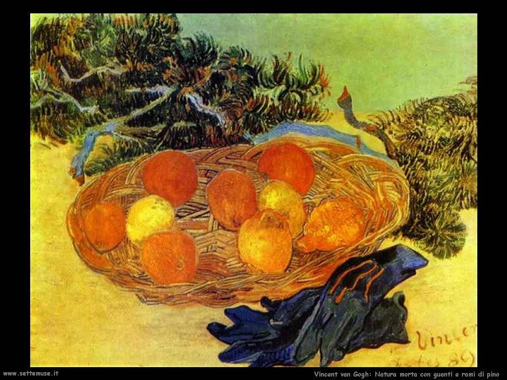 Vincent van Gogh natura morta con guanti e rami di pino