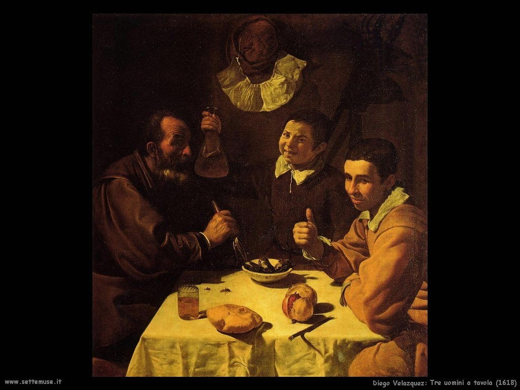 Diego Velà¡zquez_tre_uomini_a_tavola_1618