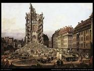 Le rovine della Kreuzkirche a Dresda