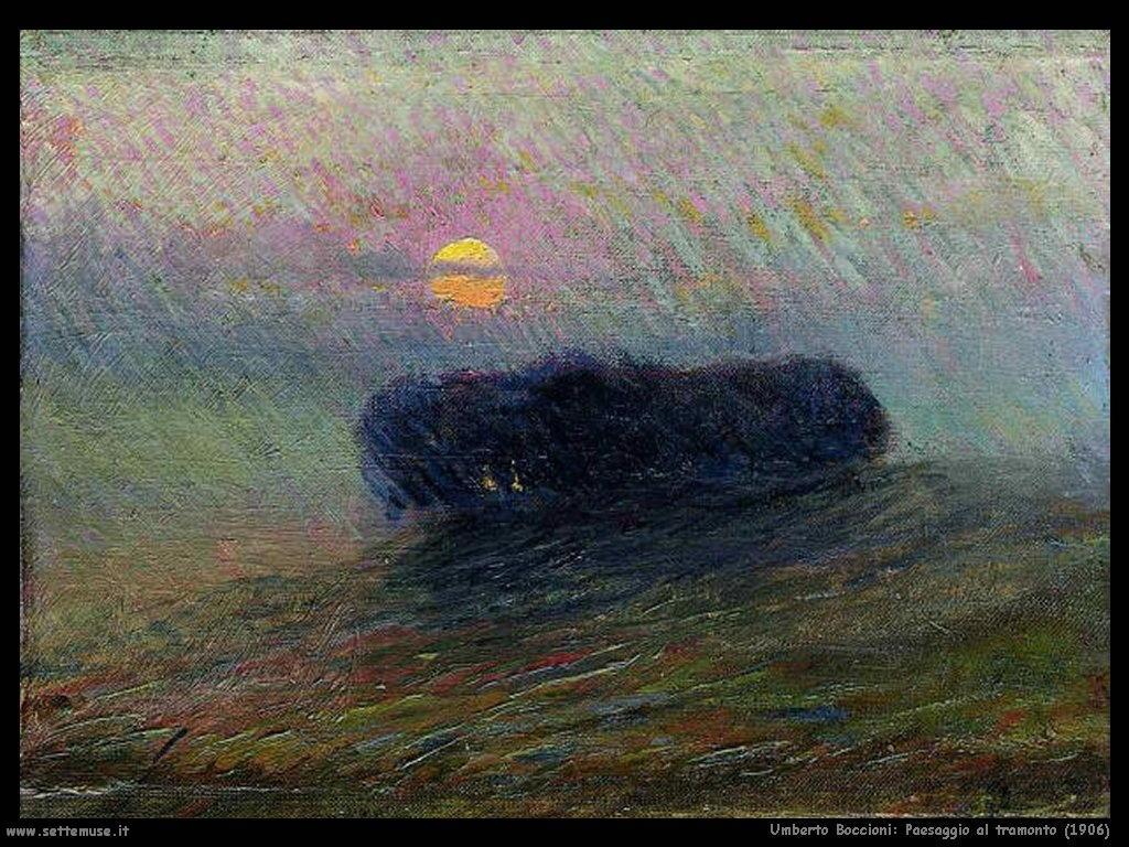 Umberto Boccioni Paesaggio al tramonto (1906)