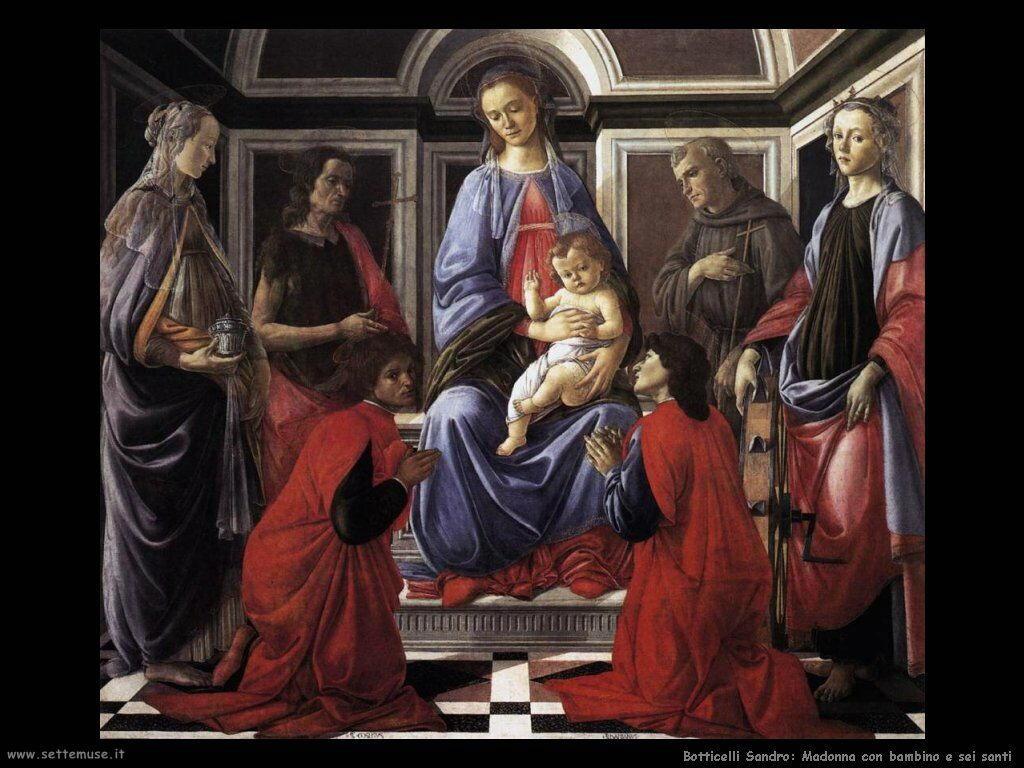 sandro botticelli madonna e bambino e sei angeli