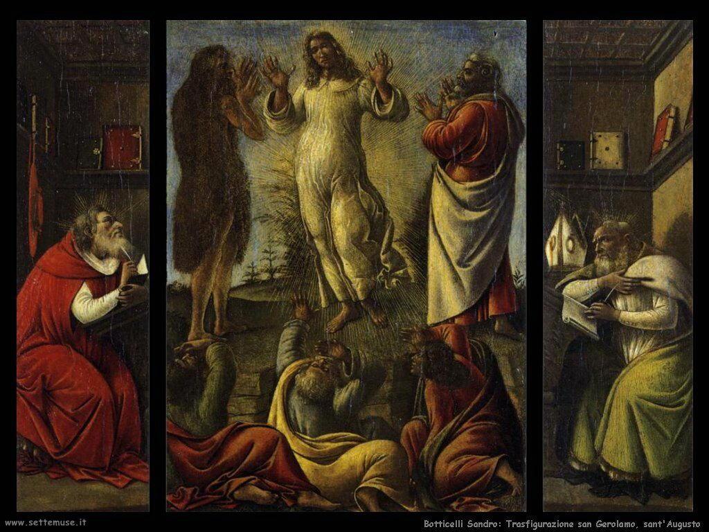 sandro botticelli trasfigurazione san gerolamo e agostino