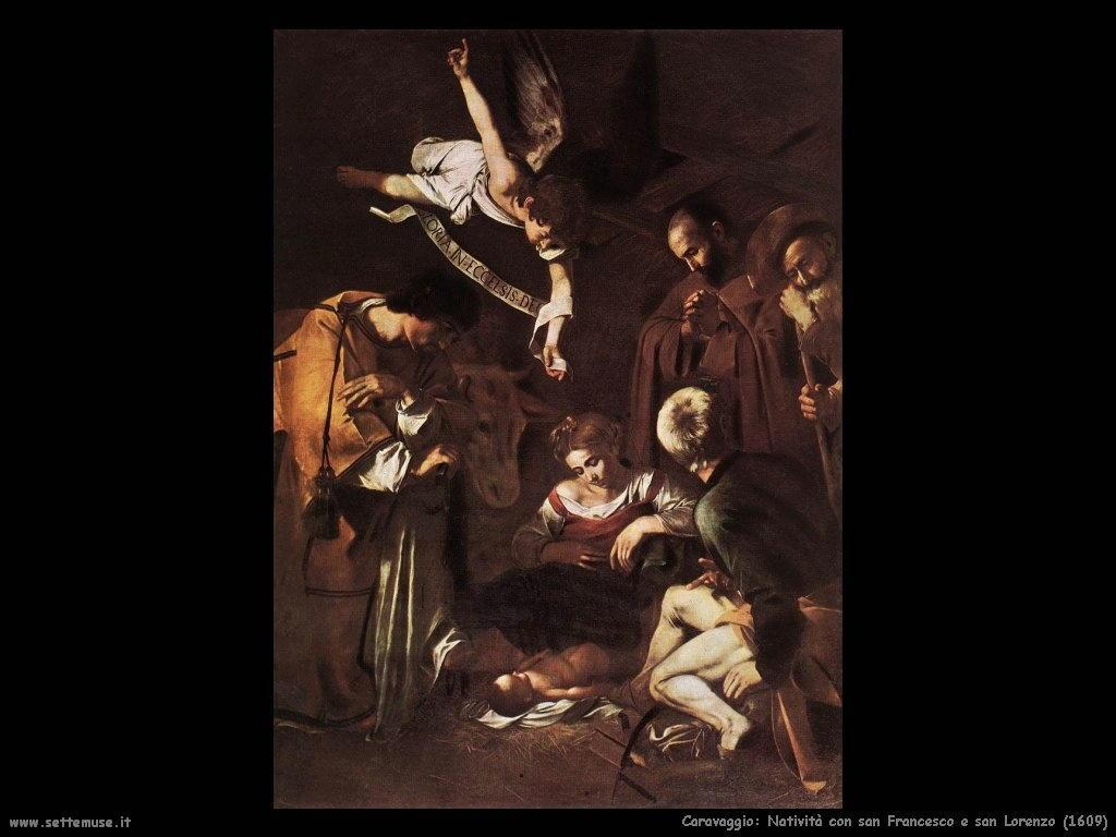 Caravaggio Natività con san Francesco e san Lorenzo