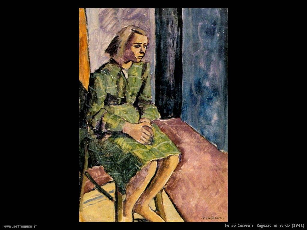 felice casorati Ragazza in verde (1941)