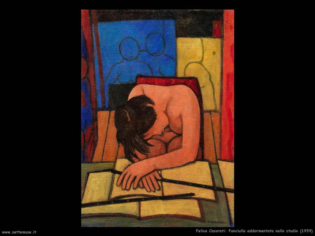felice casorati Fanciulla addormentata nello studio (1959)