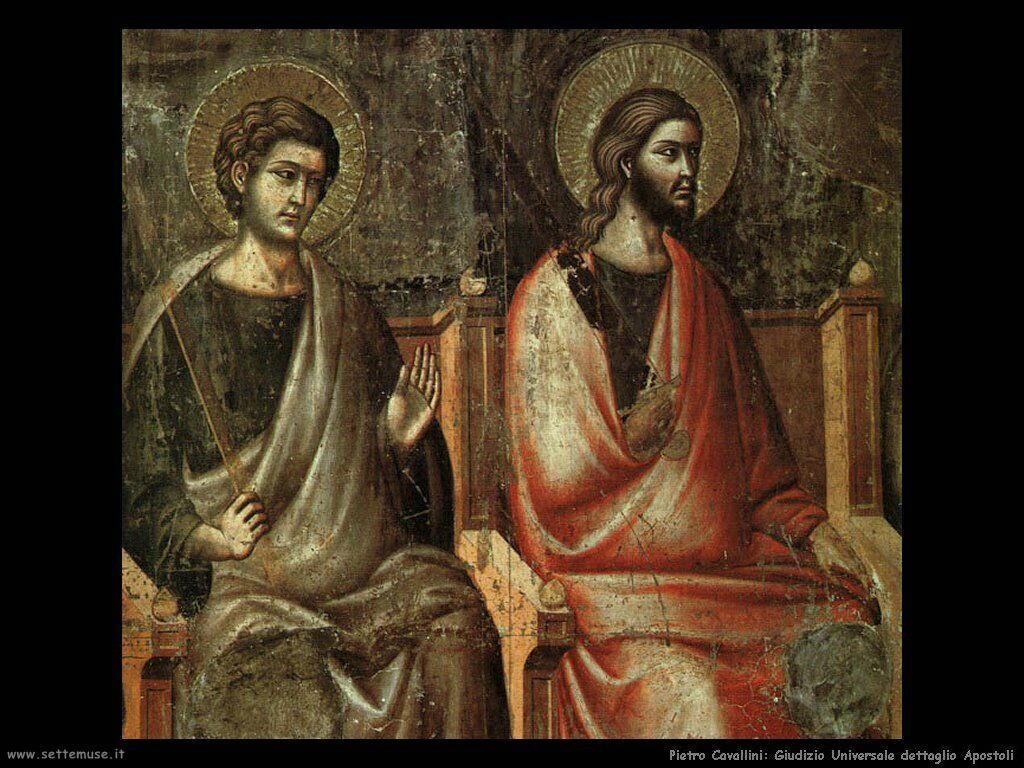 pietro cavallini Giudizio Universale, apostoli, dettaglio (1300)