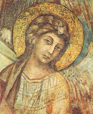 Cimabue - Particolare della Madonna in Trono, Viso di un Angelo