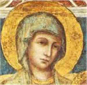 Particolare della Madonna in Trono, Viso della Vergine