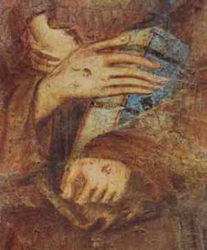 Particolare della Madonna in Trono, le mani di San Francesco