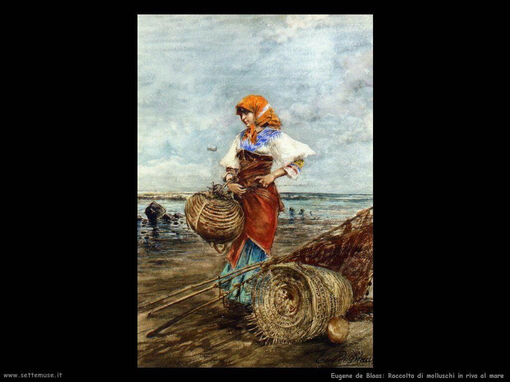 Raccolta di molluschi in riva al mare