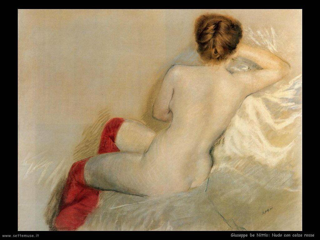Nudo con calze rosse