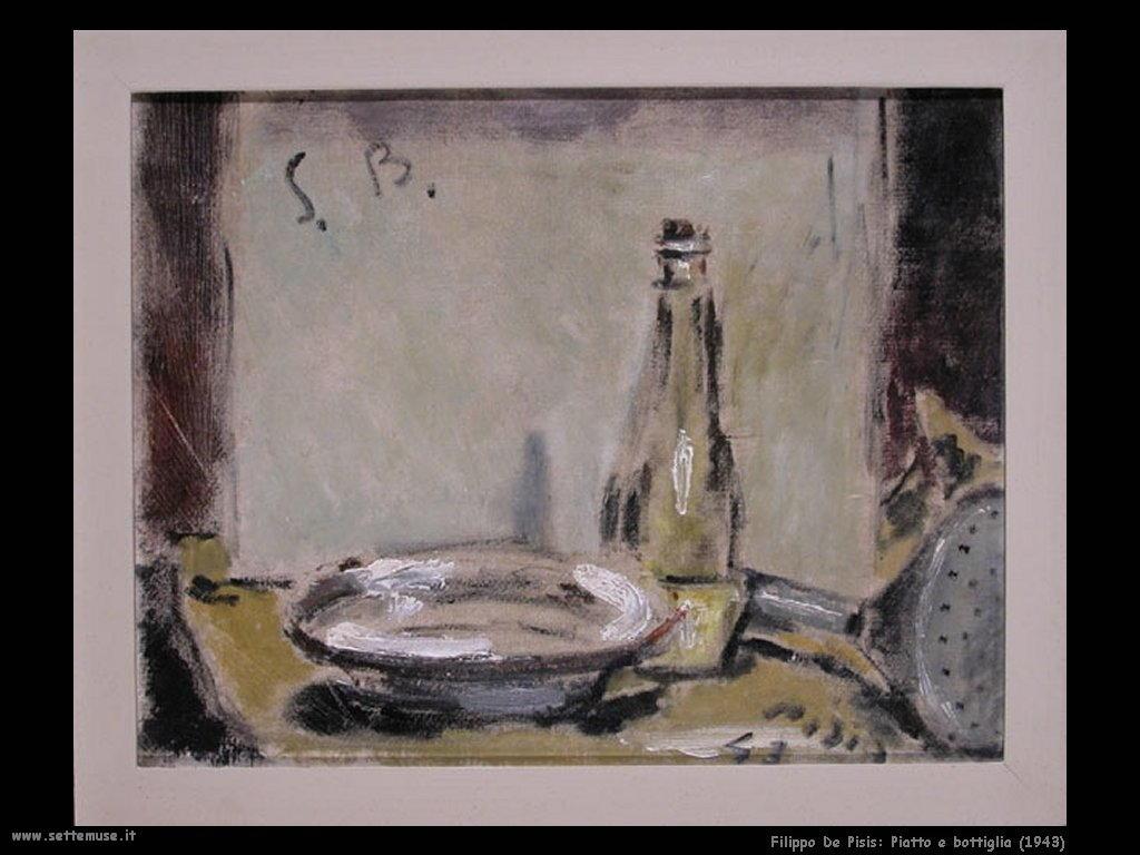 Filippo De Pisis Piatto e bottiglia (1943)