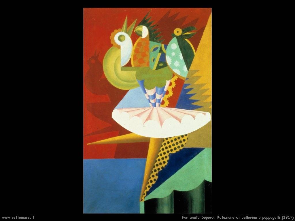 fortunato depero Rotazione di ballerina e pappagalli (1917)