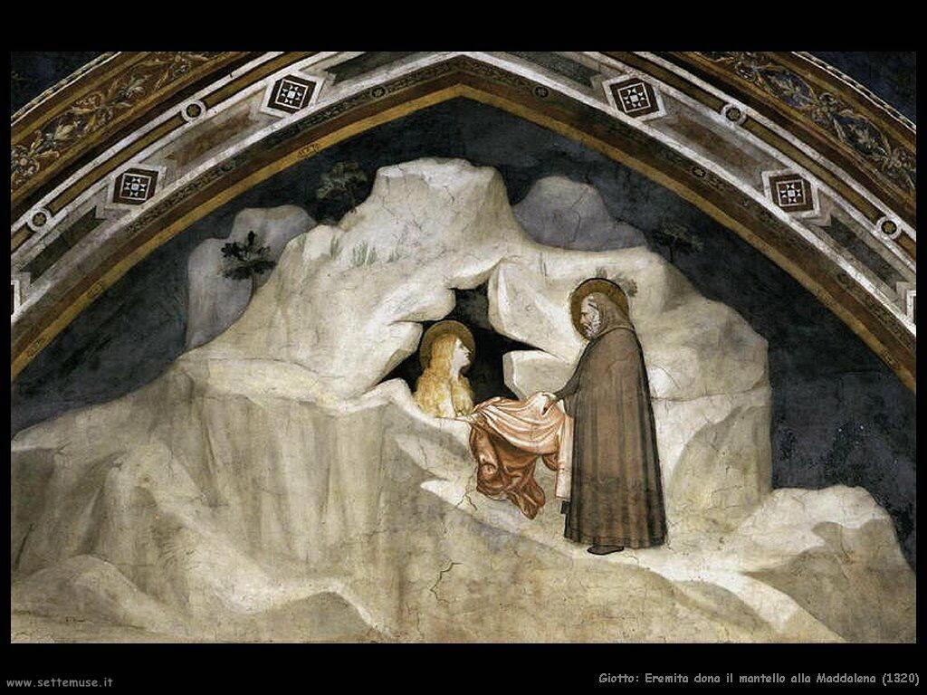giotto Eremita dona mantello alla Maddalena (1320)