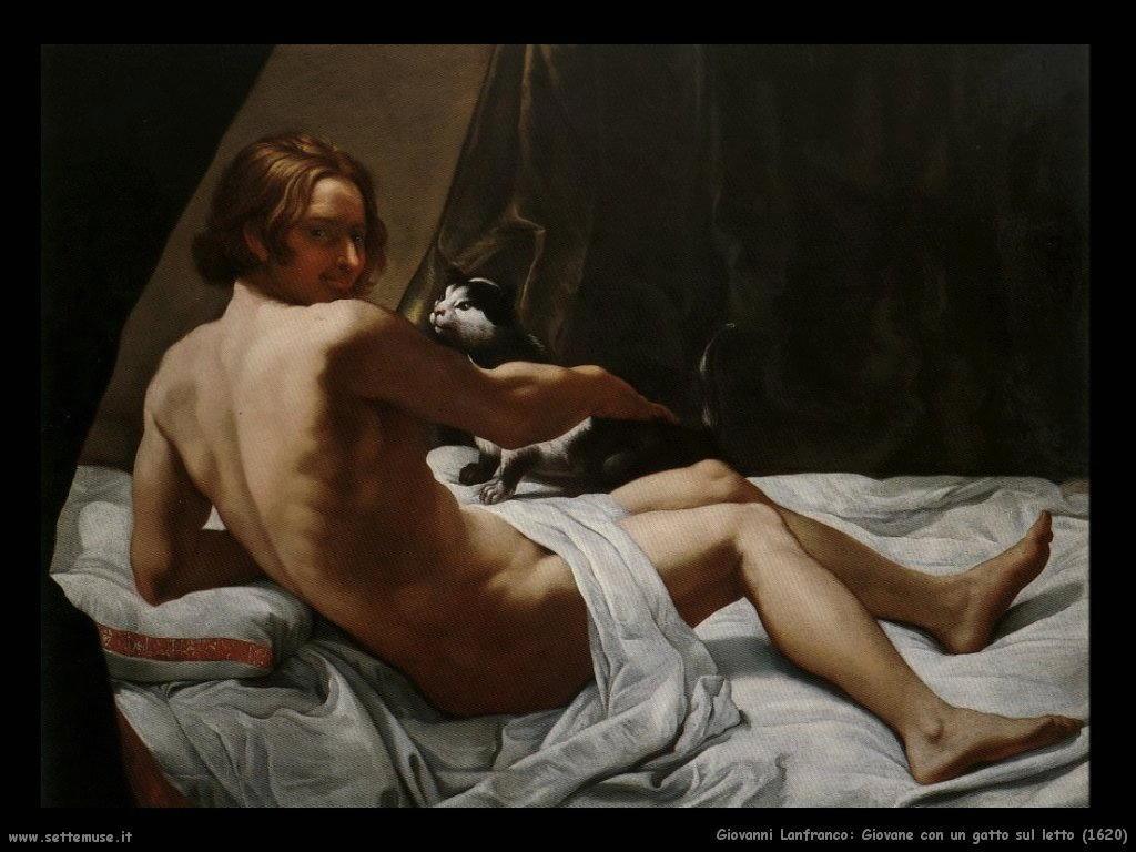 giovanni lanfranco Giovane con un gatto sul letto (1620)