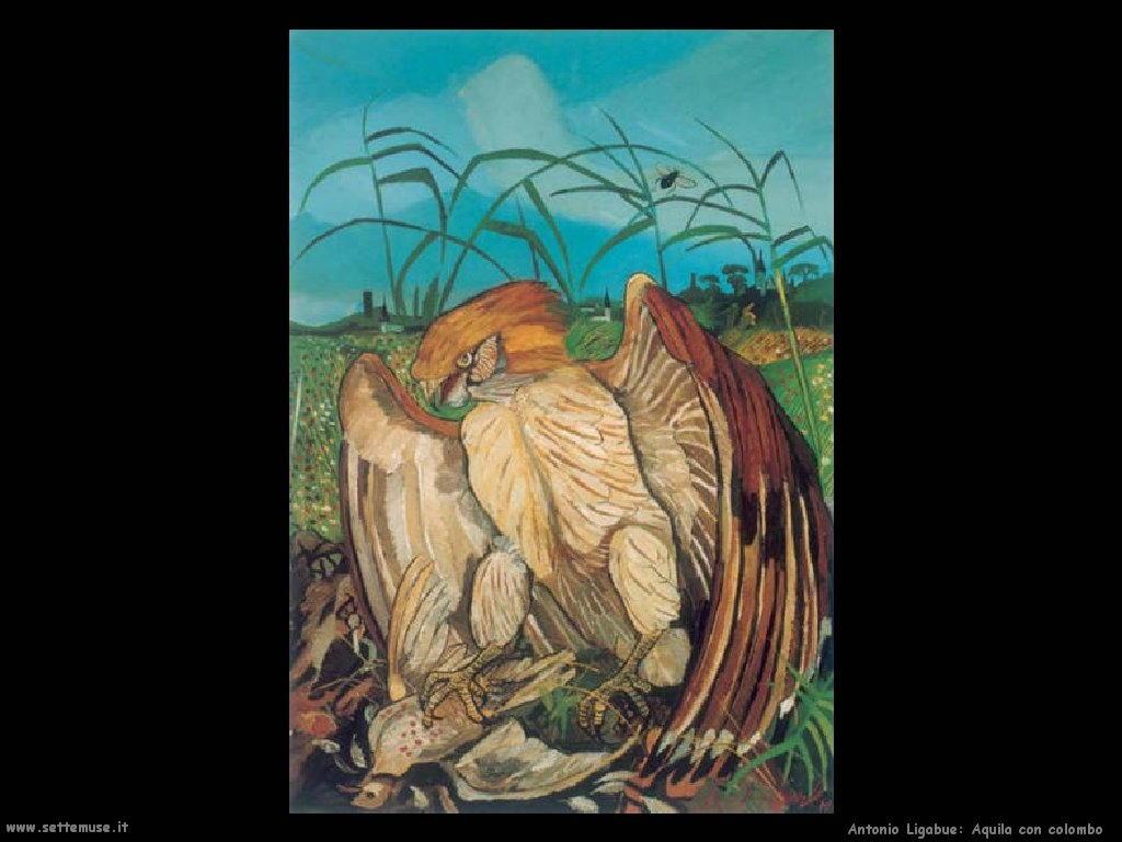 Antonio Ligabue Aquila con colombo