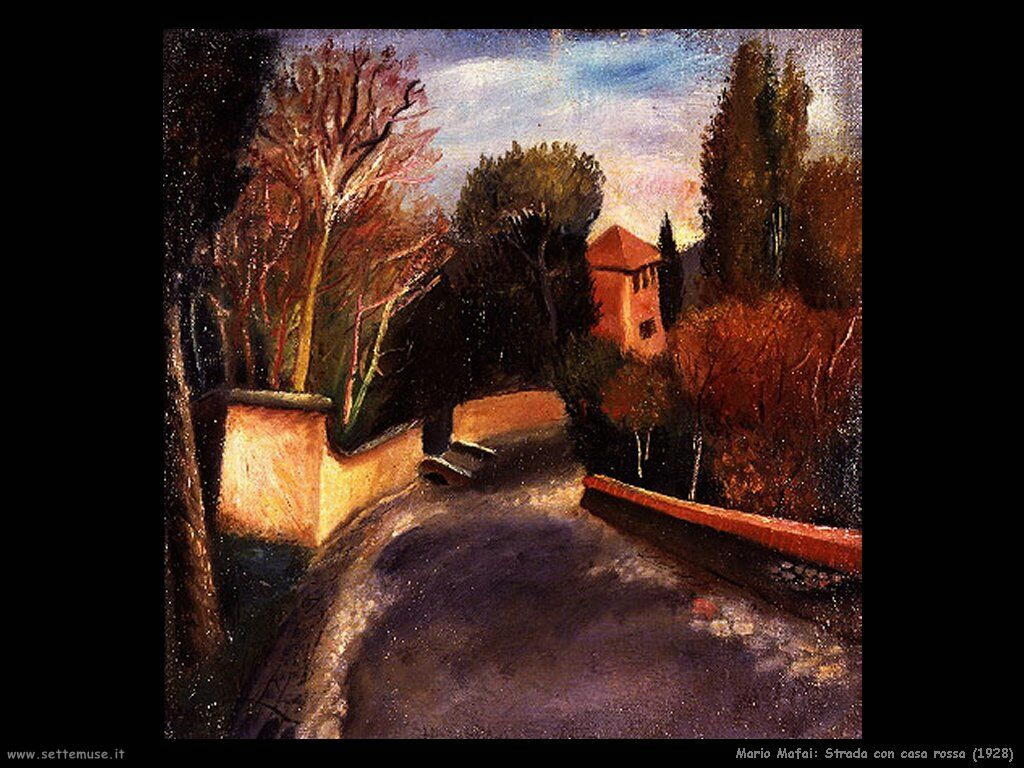mario mafai Strada con casa rossa (1928)