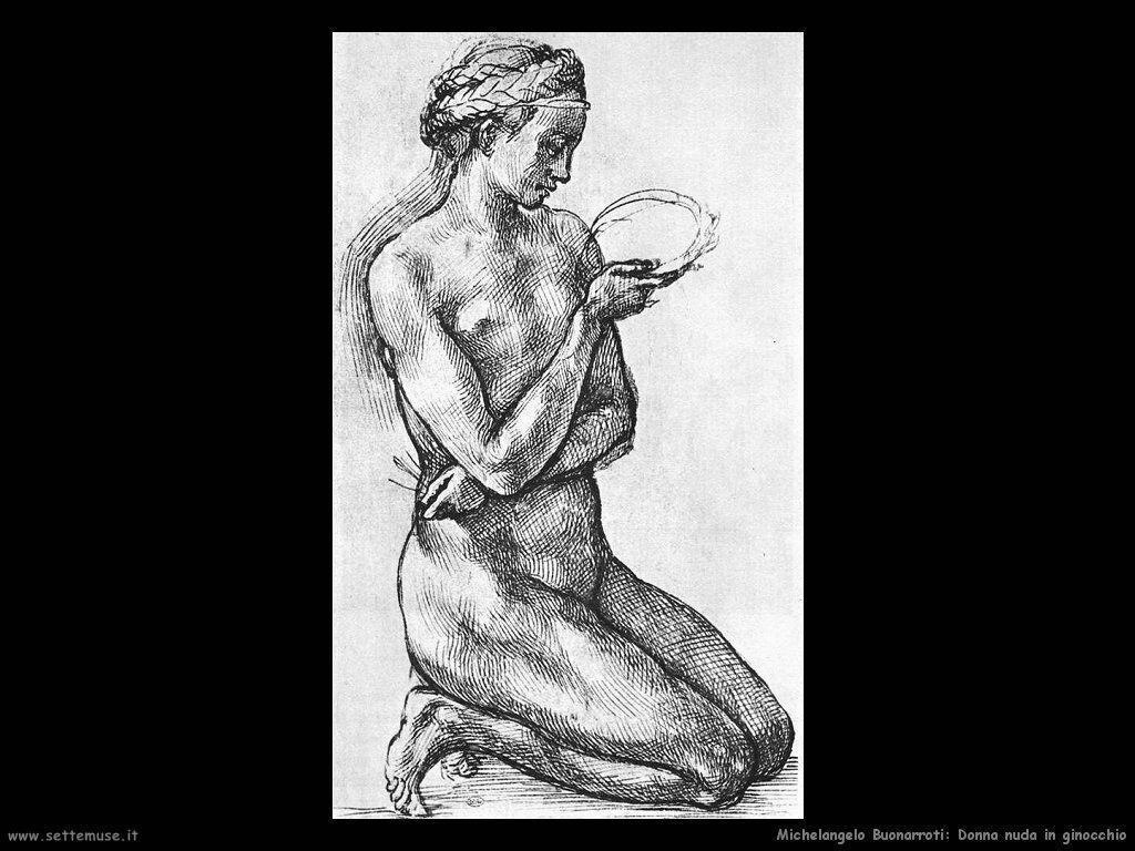 Disegno di donna nuda in ginocchio