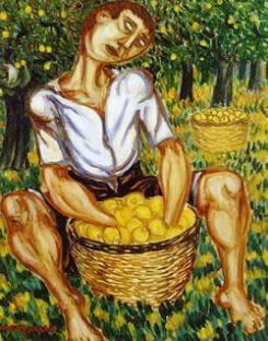 Pittura di Giuseppe Migneco Raccoglitore di Limoni 1952