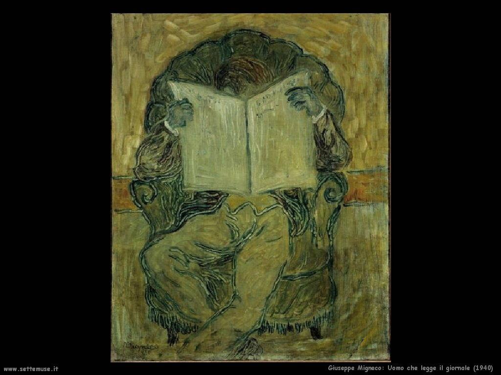Giuseppe Migneco Uomo che legge il giornale (1940)