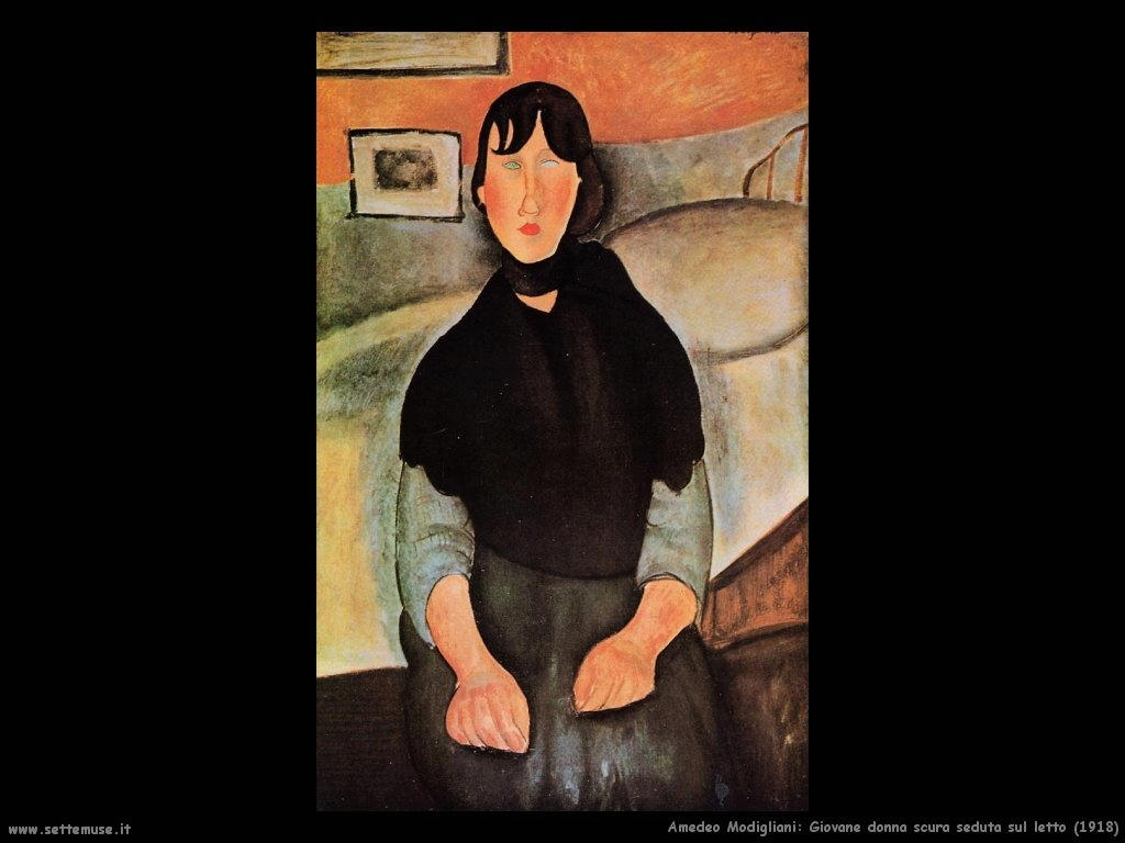 amedeo modigliani Giovane donna scura seduta sul letto (1918)