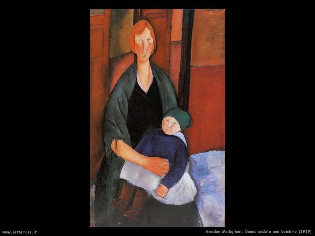 amedeo modigliani Donna seduta con bambino (1919)