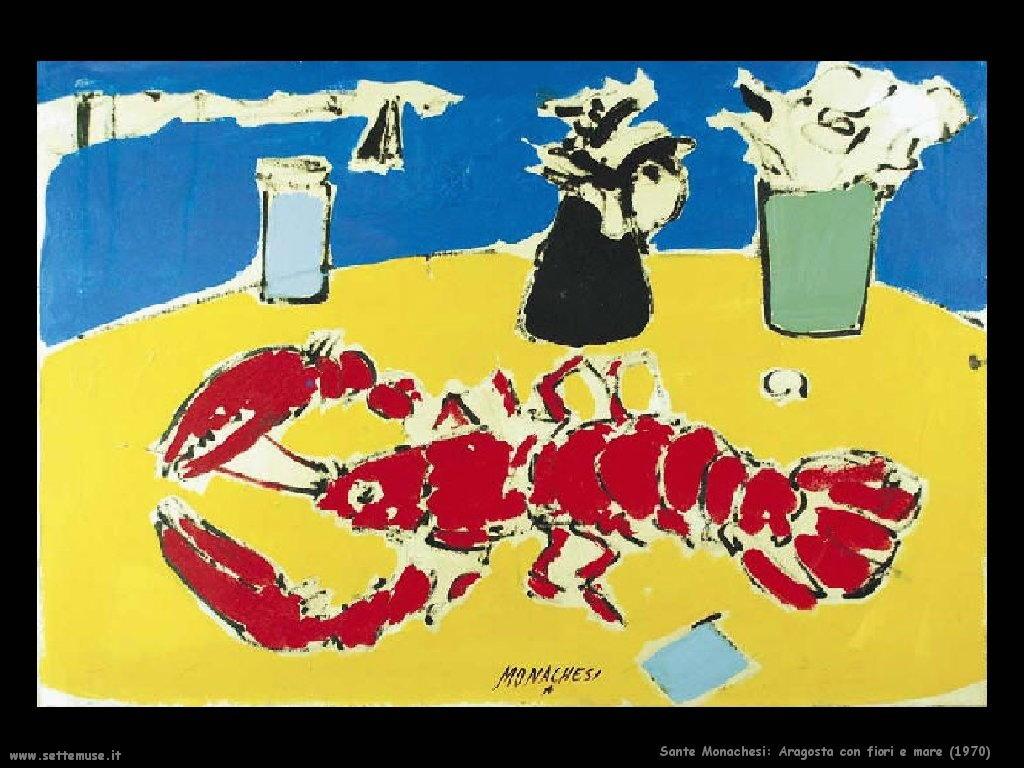 Sante Monachesi Aragosta con fiori e mare (1970)