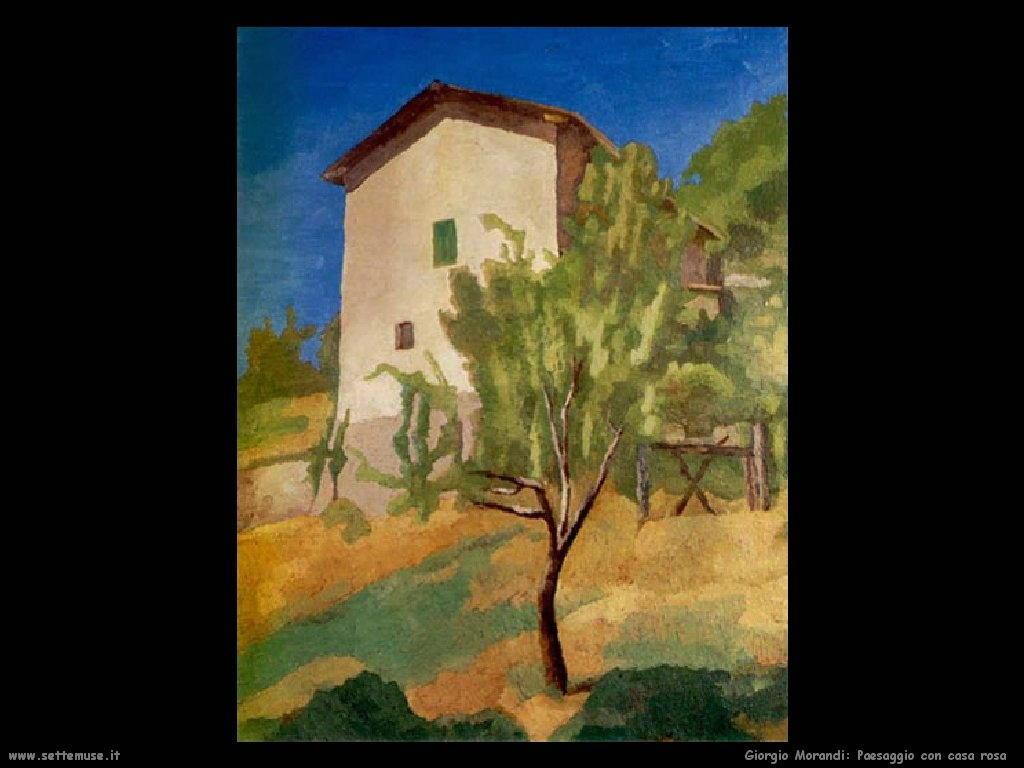 giorgio morandi Paesaggio con casa rosa (1927)