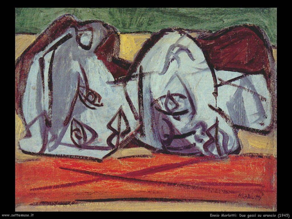 Ennio Morlotti Due gessi su arancio (1945)