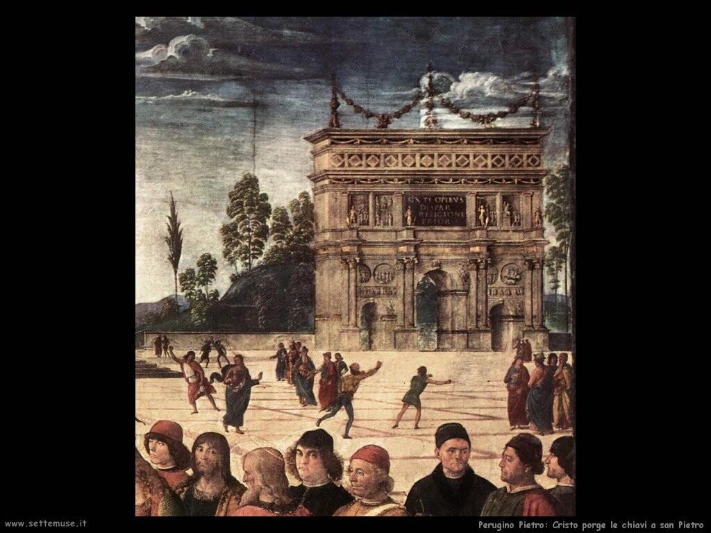 perugino pietro Cristo consegna le chiavi a san Pietro (dett)