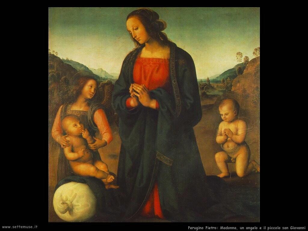 perugino pietro Madonna con un angelo e il piccolo san Giovanni
