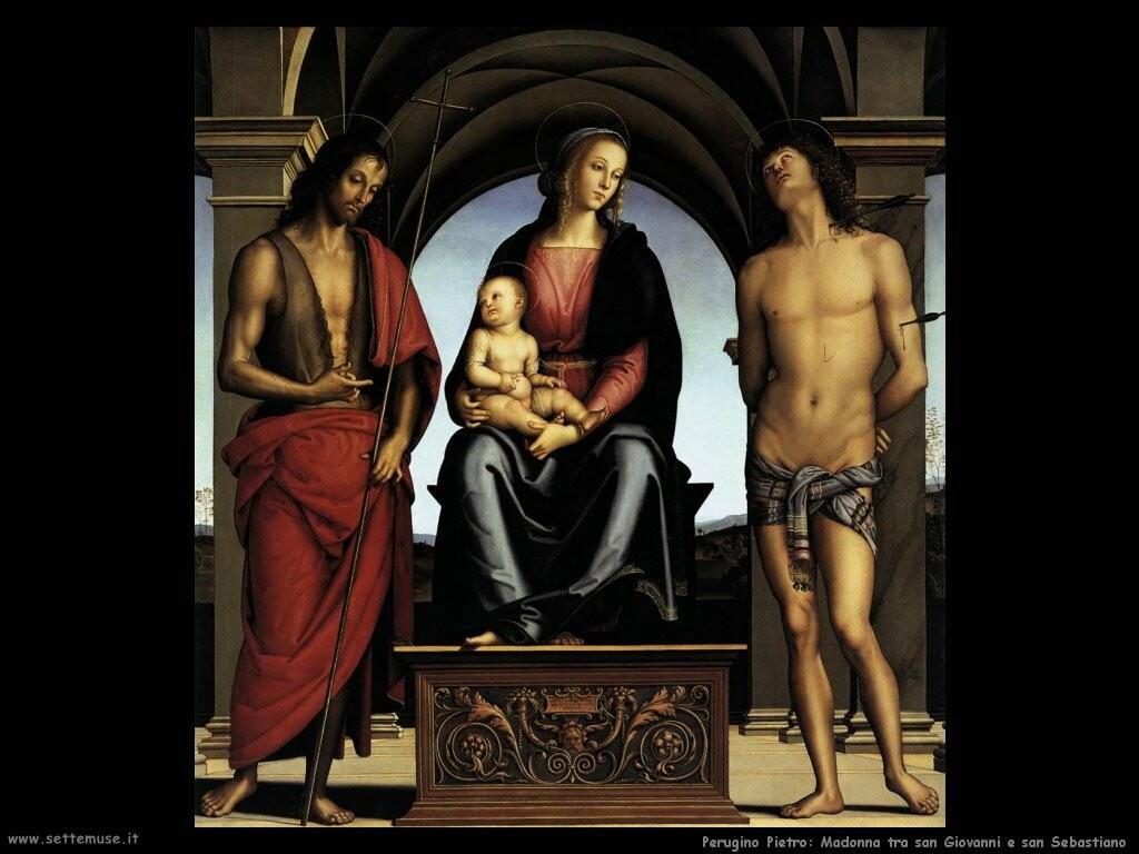 perugino pietro Madonna tra san Giovanni e san Sebastiano