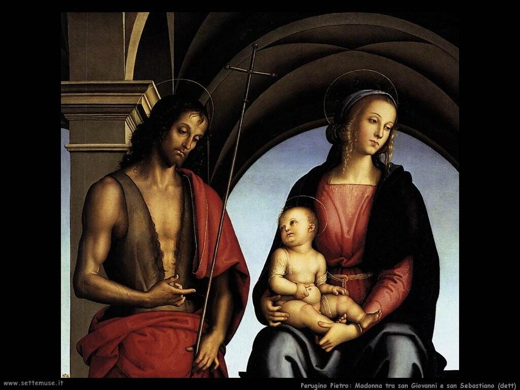 perugino pietro Madonna tra san Giovanni e san Sebastiano (dett)