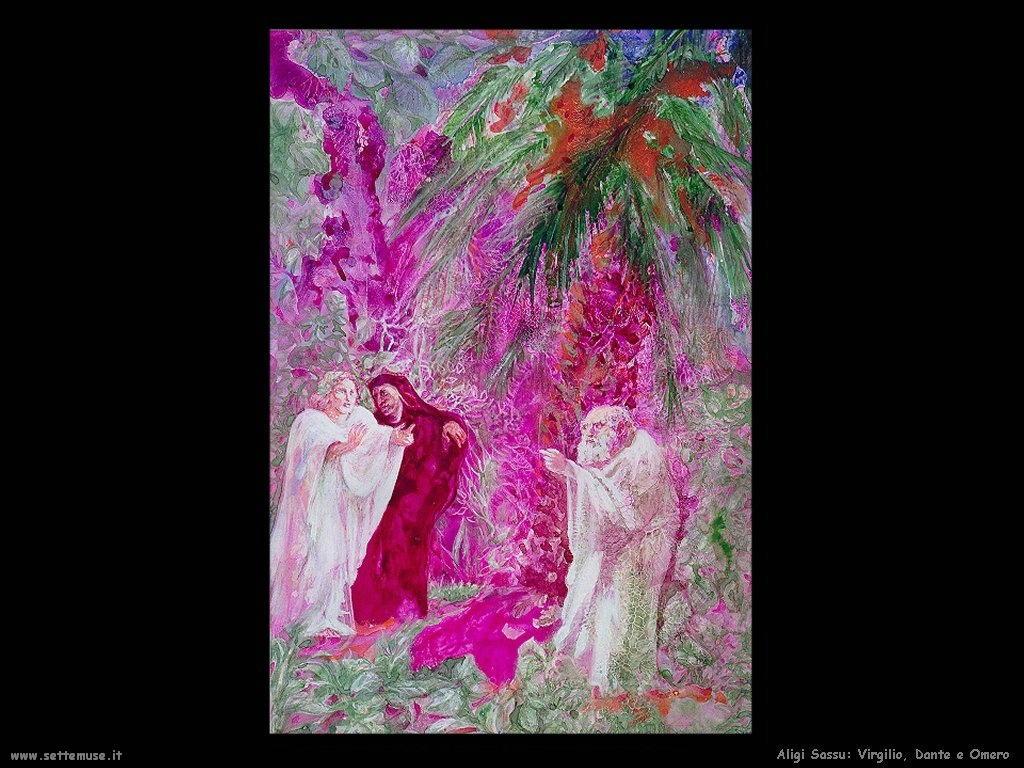 Aligi Sassu Virgilio, Dante e Omero