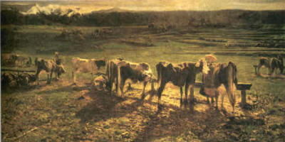 Pittura Segantini  Alla stanga 1886-1888
