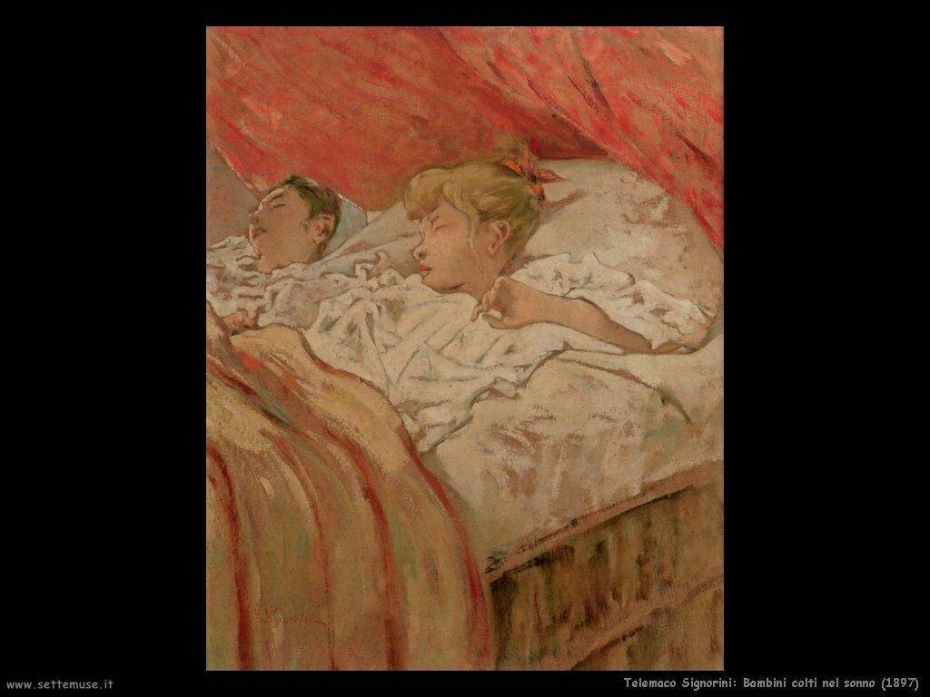 telemaco signorini Bambini colti nel sonno (1897)