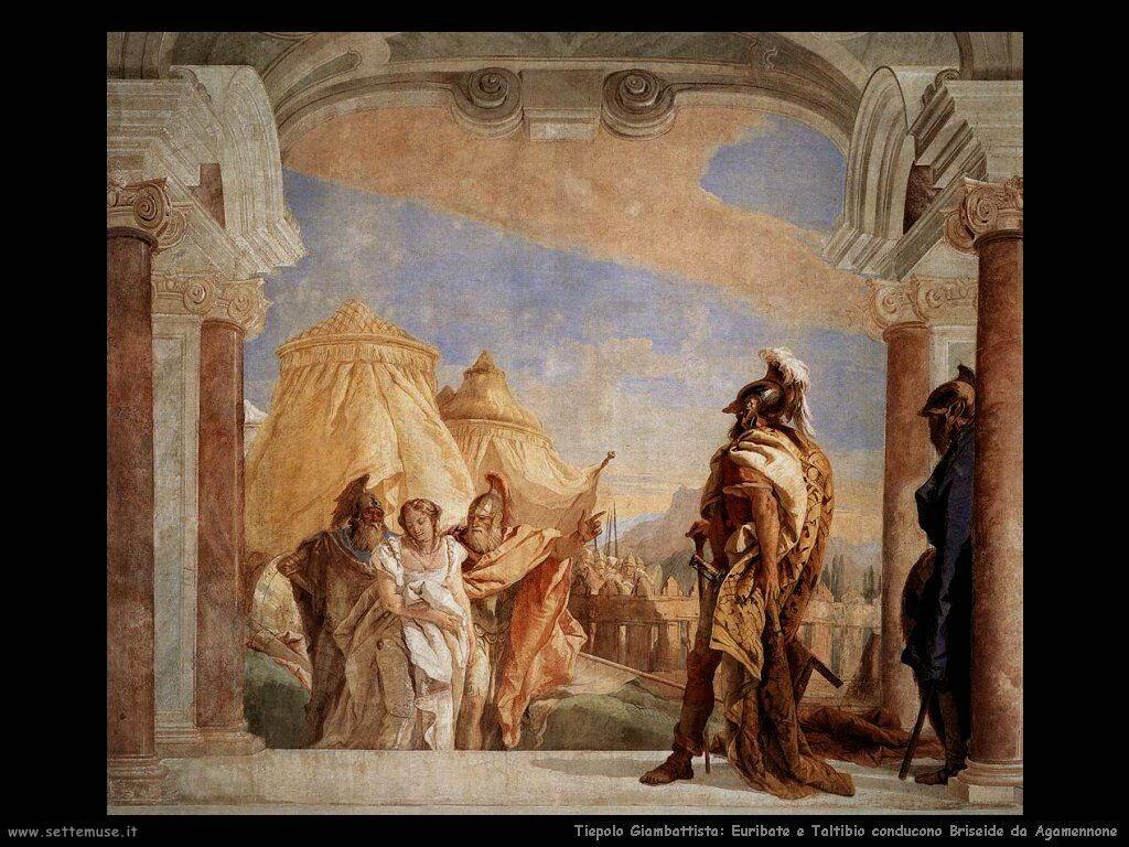 Euribate e Taltibio conducono Briseide da Agamennone