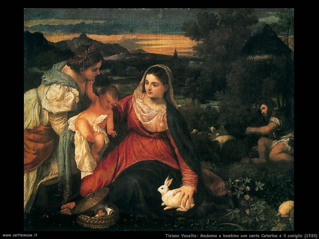 Tiziano Vecellio Madonna e bambino con santa Caterina e il coniglio (1530)