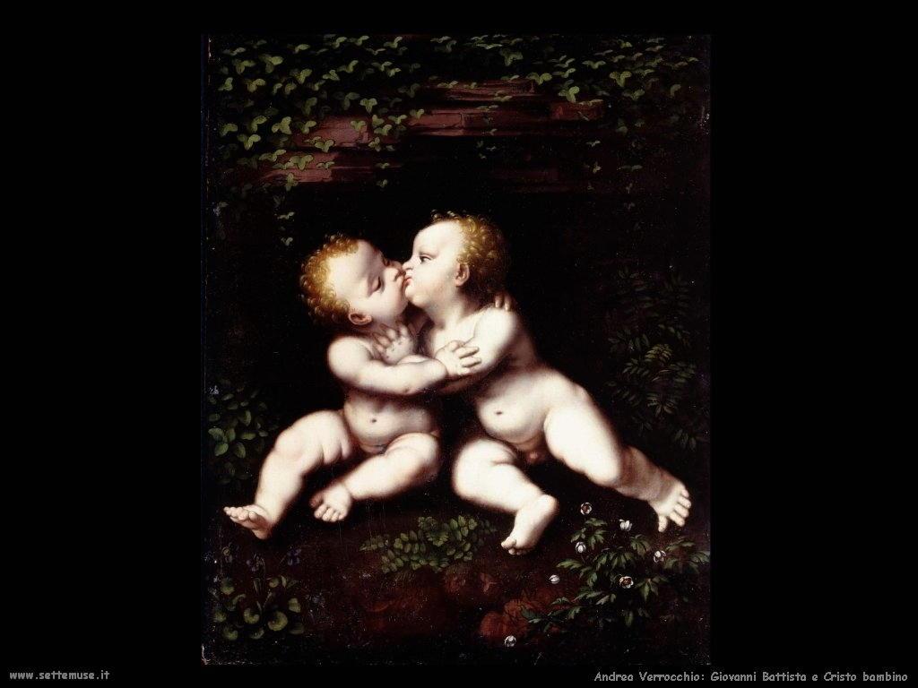 Andrea Verrocchio Giovanni Battista e Cristi bambino