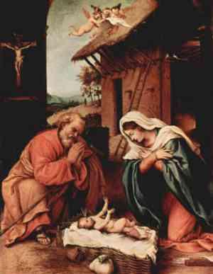 Natività di Lorenzo Lotto - nascita di Gesù